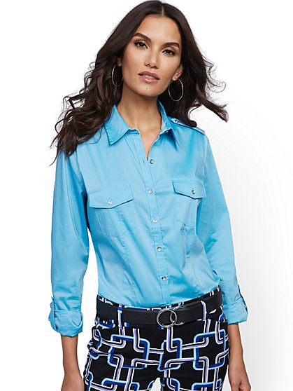 Petite Madison Stretch Shirt - Secret Snap - 7th Avenue - New York & Company