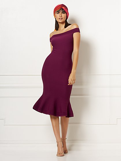 Petite Melinda Off-The-Shoulder Sweater Dress - Eva Mendes Collection - New York & Company