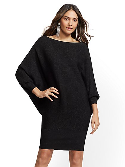 Petite Metallic Dolman Sweater Dress - New York & Company
