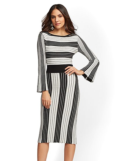 Petite Metallic Stripe Fit and Flare Sweater Dress - New York & Company