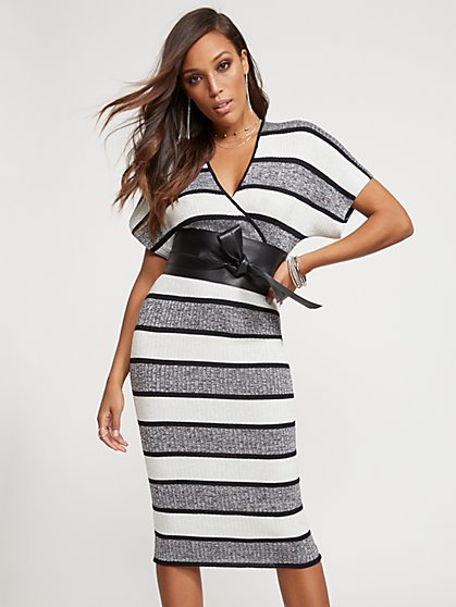 Petite Metallic Stripe Kimono Sweater Dress - New York & Company