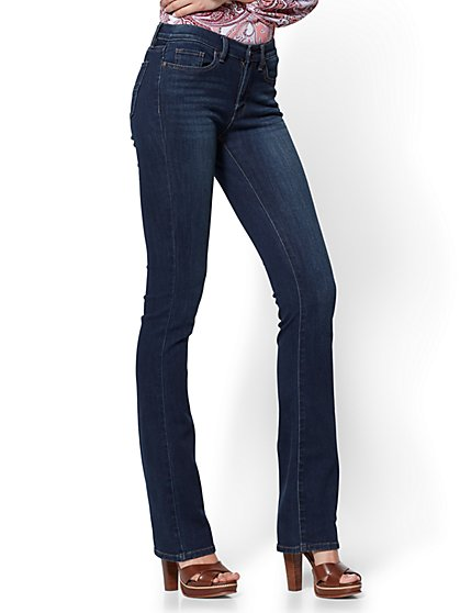 Petite Mid-Rise Bootcut Jeans - Highland Blue - New York & Company