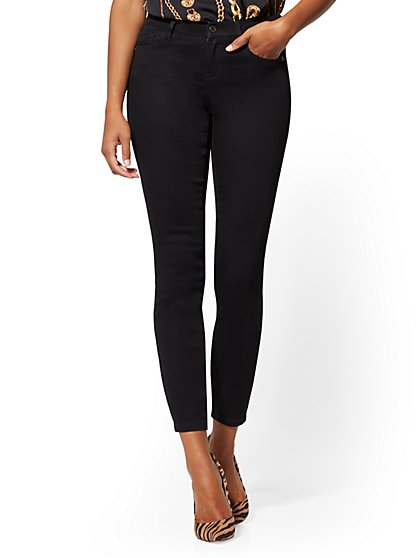 Petite Mid-Rise Curvy Super-Skinny Jeans - Black - New York & Company