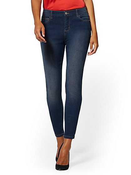 Petite Mid-Rise Essential Super-Skinny Jeans - Blue Honey - New York & Company