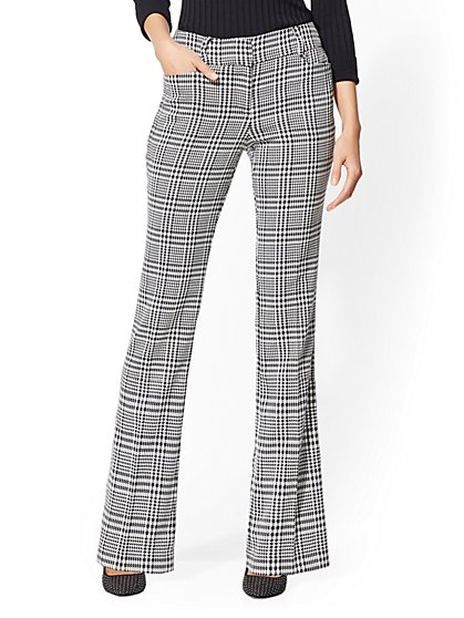 Petite Mid Rise Pant - Plaid Bootcut - 7th Avenue - New York & Company