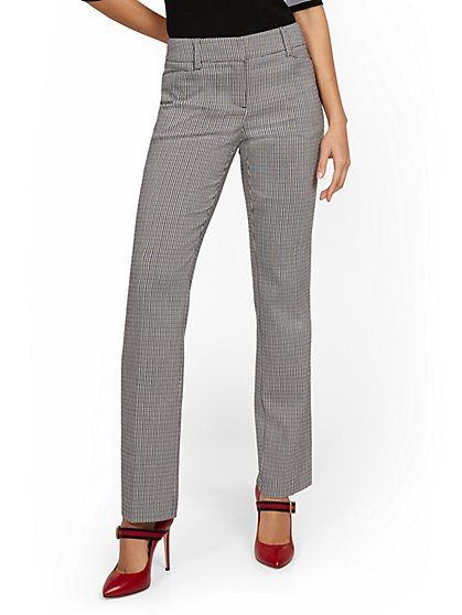 Petite Mid-Rise Straight-Leg Check Pant - New York & Company