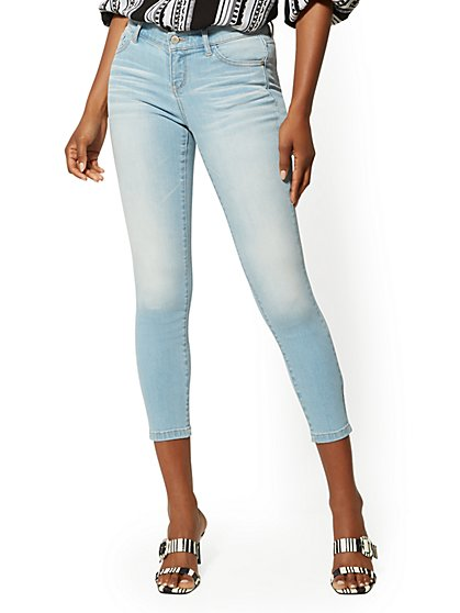 Petite Mid-Rise Super-Skinny Ankle Jeans - Crisp Blue - New York & Company