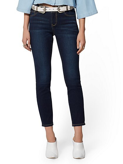 Petite Mid-Rise Super-Skinny Ankle Jeans - Northern Blue - New York & Company