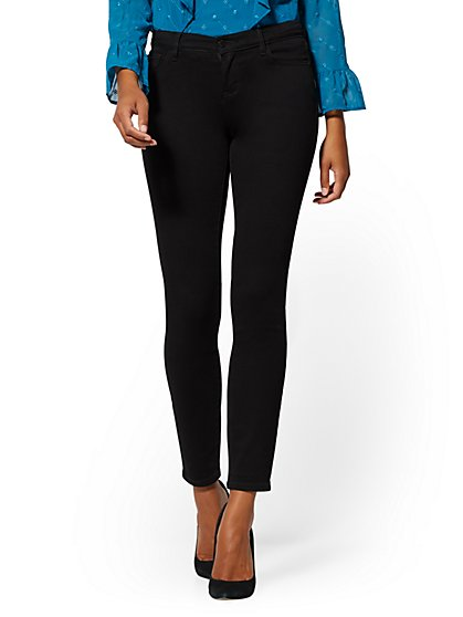 Petite Mid-Rise Super-Skinny Jeans - Always Black - New York & Company