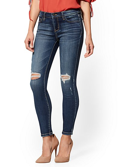 Petite Mid-Rise Super-Skinny Jeans - Destroyed - New York & Company
