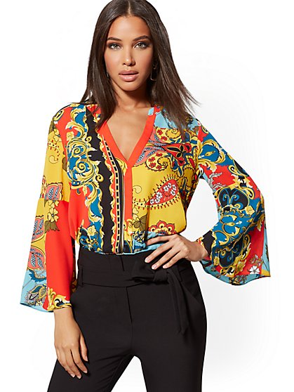 Petite Mixed-Print Bell-Sleeve Blouse - 7th Avenue - New York & Company