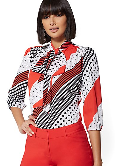 Petite Mixed-Print Bow Blouse - 7th Avenue - New York & Company
