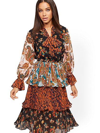 Petite Mixed-Print Dress - New York & Company
