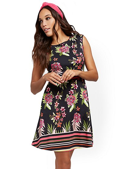 Petite Mixed-Print Fit and Flare Dress - New York & Company