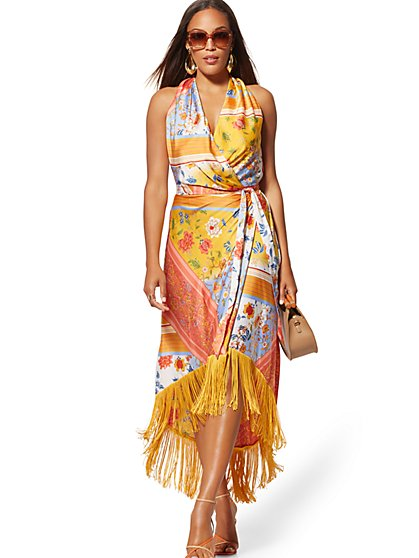 Petite Mixed-Print Fringed Wrap Maxi Dress - New York & Company