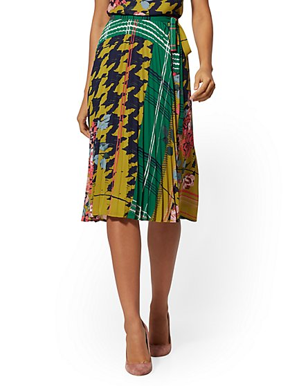 Petite Mixed-Print Full Wrap Skirt - New York & Company