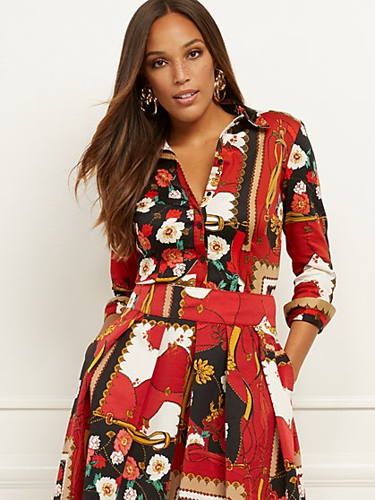 Petite Mixed-Print Madison Stretch Shirt - 7th Avenue - New York & Company