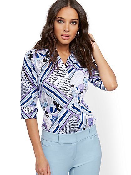 Petite Mixed-Print Madison Stretch Shirt - Secret Snap - 7th Avenue - New York & Company