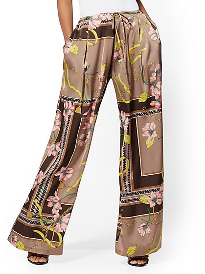 Petite Mixed-Print Palazzo Pant - 7th Avenue - New York & Company