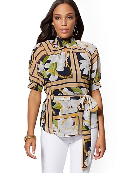Petite Mixed-Print Puff-Sleeve Blouse - New York & Company