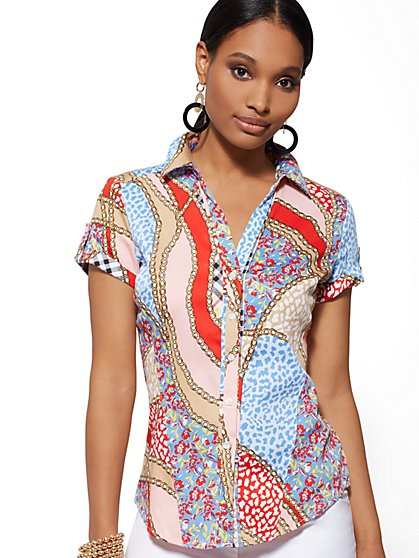Petite Mixed-Print Short-Sleeve Madison Stretch Shirt - 7th Avenue - New York & Company