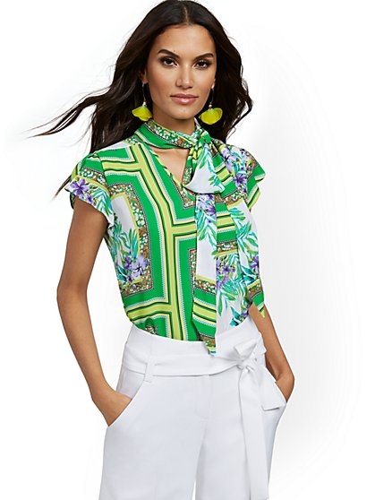 Petite Mixed-Print Tulip-Sleeve Blouse - 7th Avenue - New York & Company