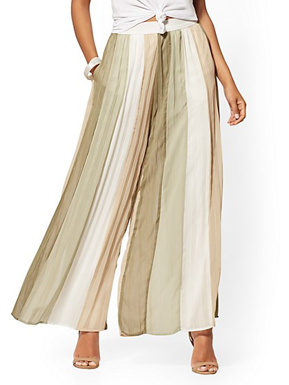 Petite Multicolor-Stripe Pleated Palazzo Pant - 7th Avenue - New York & Company