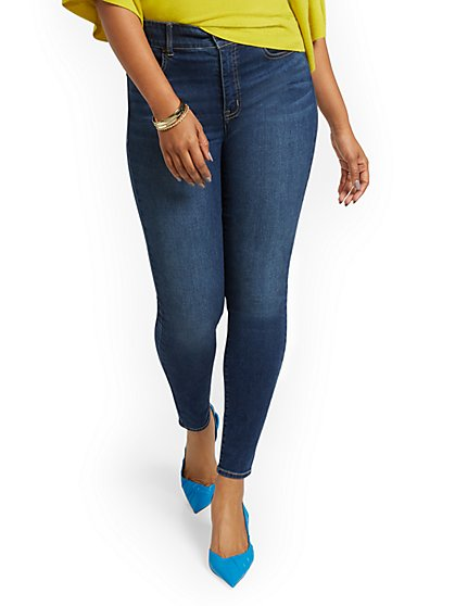 Petite Mya Curvy High-Waisted Sculpting No Gap Super-Skinny Ankle Jeans - Foxy Blue - New York & Company