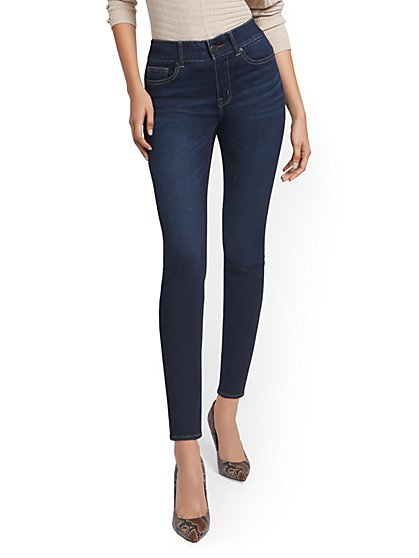 Petite Mya Curvy High-Waisted Sculpting No Gap Super-Skinny Ankle Jeans - Moonlight Blue - New York & Company