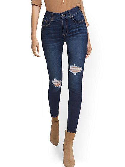Petite Mya Curvy High-Waisted Sculpting No Gap Super-Skinny Ankle Jeans - New York & Company