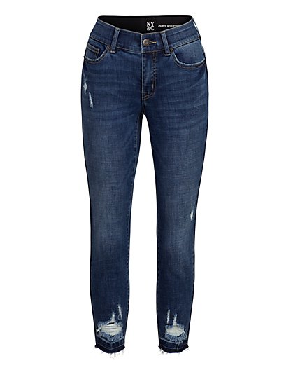 Petite Mya Curvy High-Waisted Sculpting No Gap Super-Skinny Jeans - Destroyed Details - New York & Company