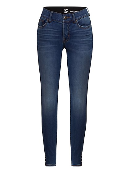 Petite Mya Curvy High-Waisted Sculpting No Gap Super-Skinny Jeans - New York & Company