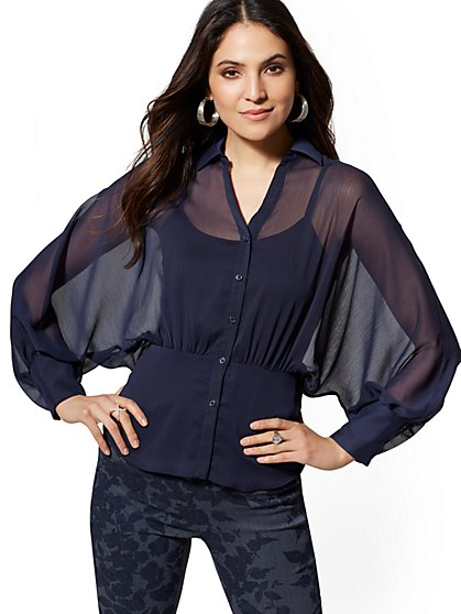Petite Navy Dolman Peplum Blouse - 7th Avenue - New York & Company