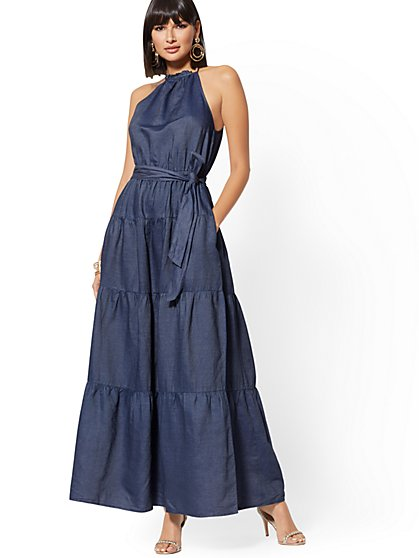 Petite Navy Halter Maxi Dress - New York & Company