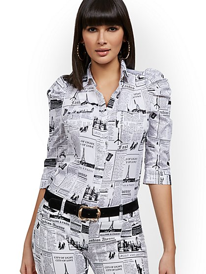 Petite Newsprint Puff-Sleeve Shirt - New York & Company