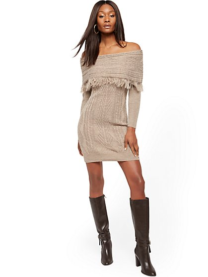 Petite Off-The-Shoulder Fringe Sweater Sheath Dress - New York & Company