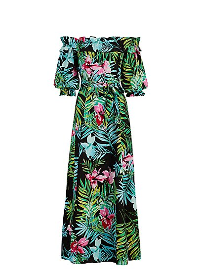 Petite Off-The-Shoulder Poplin Maxi Dress - New York & Company