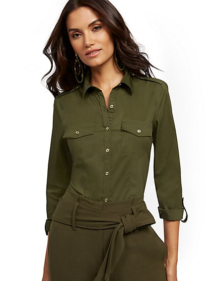 Petite Olive Madison Stretch Shirt - Secret Snap -7th Avenue - New York & Company