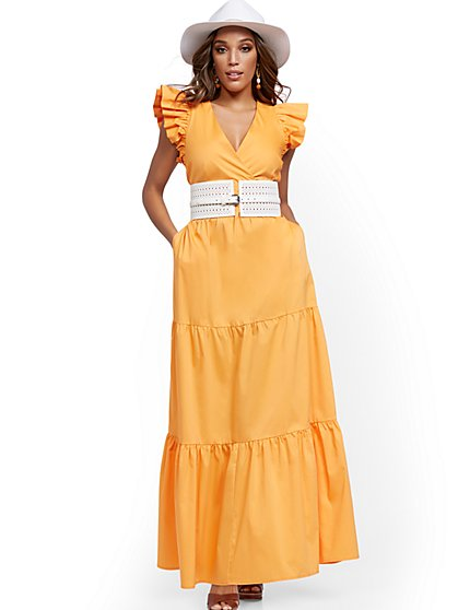 Petite Orange Ruffle-Sleeve Poplin Maxi Dress - New York & Company