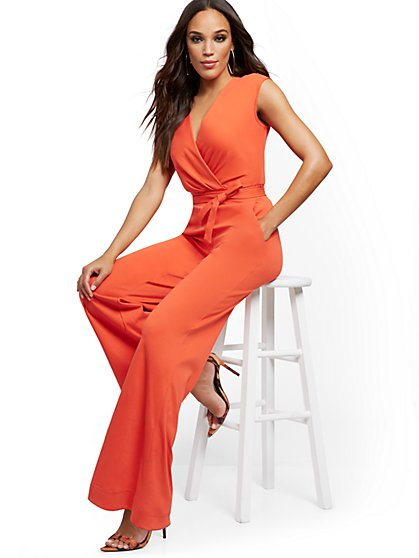 Petite Orange Wrap Jumpsuit - New York & Company