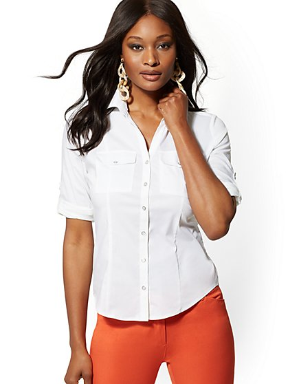 Petite Pearlized-Button Madison Stretch Shirt - 7th Avenue - New York & Company