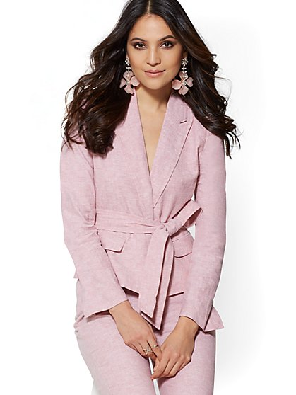 Petite Pink Belted Jacket - City Stretch Linen Flex - 7th Avenue - New York & Company
