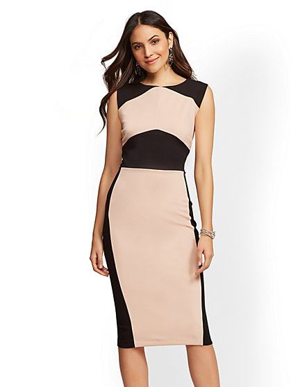Petite Pink & Black Colorblock Sheath Dress - New York & Company