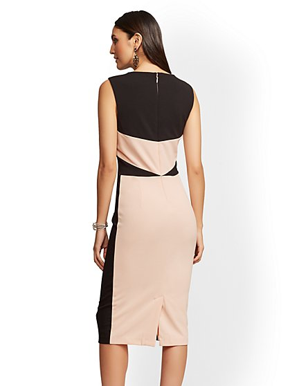 Pee Pink Black Colorblock Sheath Dress New York
