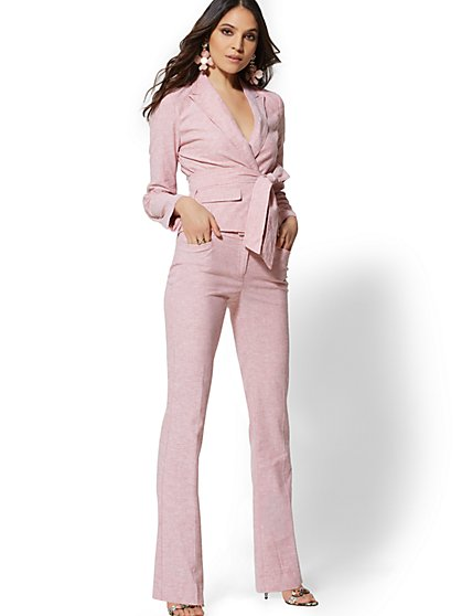 Petite Pink Bootcut Pant - Modern - City Stretch Linen Flex - 7th Avenue - New York & Company