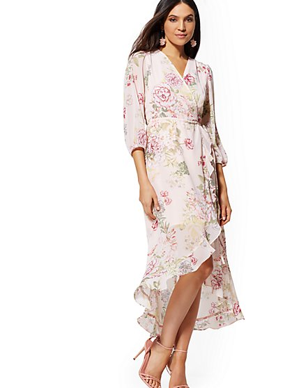 Petite Pink Floral Wrap Maxi Dress - New York & Company