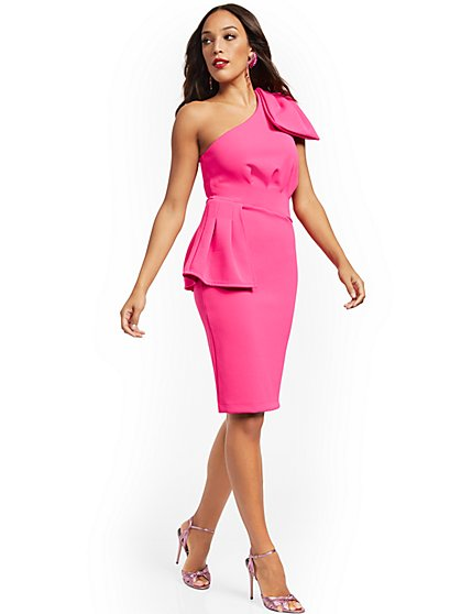 Petite Pink One-Shoulder Sheath Dress - New York & Company