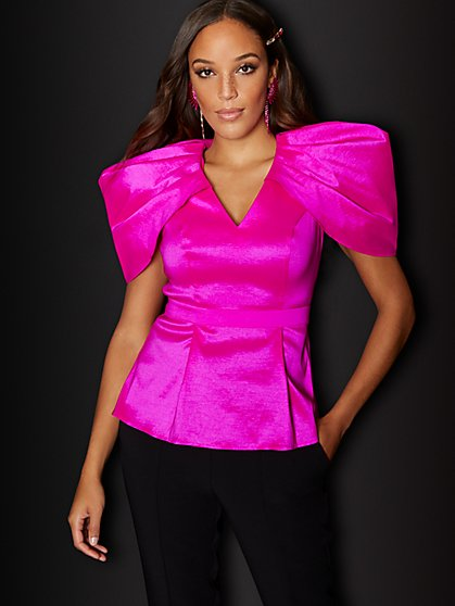 Petite Pink Peplum Top - 7th Avenue - New York & Company