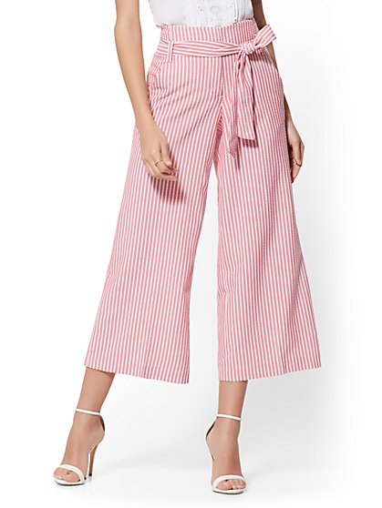 Petite Pink Stripe Madie Crop Pant - 7th Avenue - New York & Company