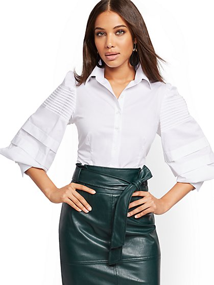 Petite Pintuck Balloon-Sleeve Poplin Shirt - New York & Company